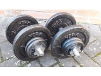 YORK 43KG CAST IRON DUMBBELL WEIGHTS SET