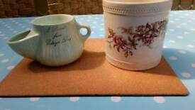 Vintage shaving pot and Royal Doulton plant holder