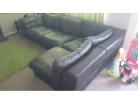 Brown corner sofa with chair