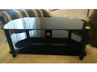 Black glass living room table / TV stand