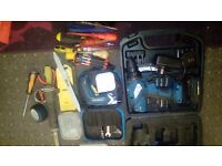 Workzone cordless drill, electric screwdriver and large selection of hand tools