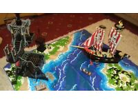 Wooden Castle and Pirate ship. ELC. Complete with figures and play matt. £50