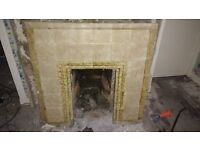 Retro Fireplace - Wooden Surround and Tile Insert