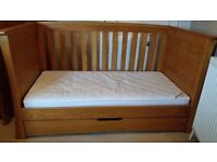 Mamas and papas ocean oak wardrobe, chest of drawers and cot bed which also becomes a day bed