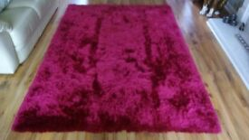 Stunning Fuschia Asiatic shag pile 'Whisper' rug - authentic Chinese design and manufacture
