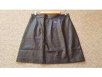 BNWT Women's Black skirt faux leather size 12 by Queenie (London)