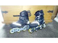 Size 1-4 inline roller skates. Black oxelo