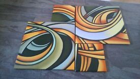 New modern four piece oil painting on canvas