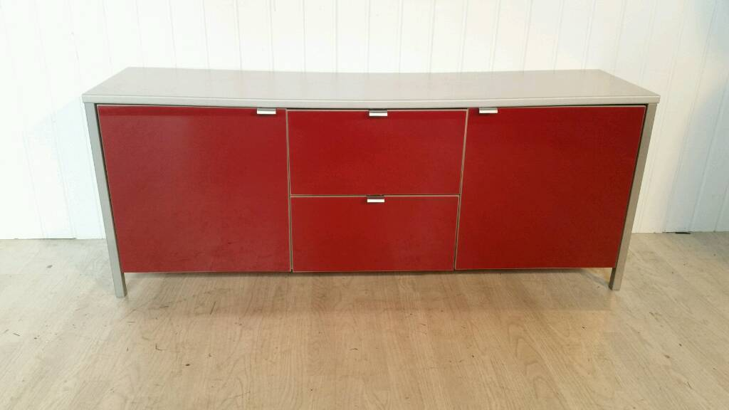 Grey and Red High Gloss Sideboard