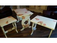NEST OF TABLES SMALL COFFEE TABLES X3 ANTIQUE WHITE WITH PEACH ROSE GOLD DECOUPAGE