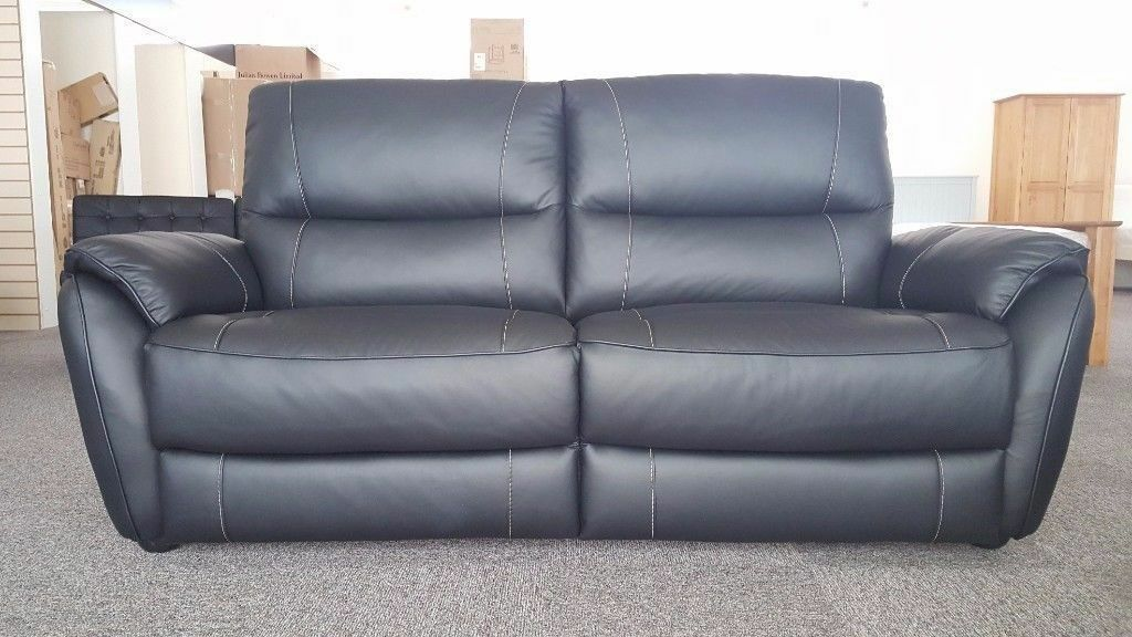 SCS Teo Black Leather 3 Seater Sofa Armchair & Footstool Free Delivery Nottingham And Derby