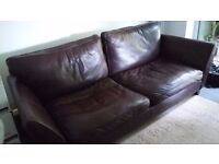 Comfy leather 3-4 seater sofa from M&S
