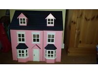 Large dolls house with furniture and dolls (Rosebud Cottage)