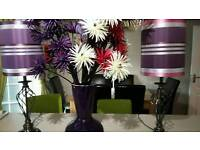 2 table lamps and large flower display