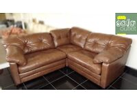 Designer Brown leather 3 piece corner sofa (130) £999