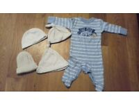 0-3mth bundle shoes, hats, sleepsuits, outfits