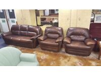 3 Seat Brown Leather Sofa & 2 Arm Chairs