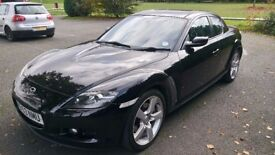 2004 Mazda RX8 231 Black with full leather and Satnav, Low mileage. FSH