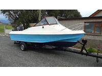 Shetland Sheltie (535) fast fishing boat, 60 hp Mercury electric start and roller road trailer