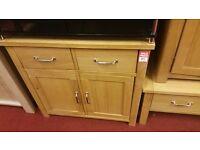 2 drawer 2 door chest - wood (metal handles)