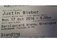 2x Justin Bieber tickets- Birmingham - 17th October