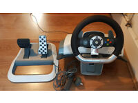 Force feedback steering wheel and pedals controller for PC/XBOX 360