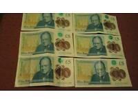6 rare £ 5 notes