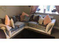 White leather and crushed velvet corner sofa