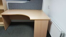 Beech office desk c/w grey screen