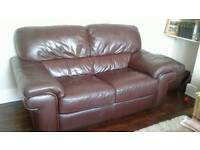 Good quality Brown leather 2 seater sofa and footstool