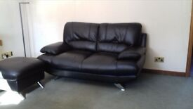 immaculate black leather 2 seater sofa with storage footstool CAN DELIVER