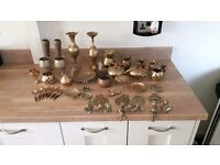 assortment of brass collectaables