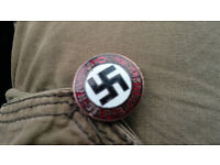 German WW2 socialist party badge, genuine with gesch ges on the back side