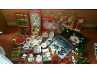 Job lot of Christmas decorations ornaments, cushions trees tinsel baubles candles snow globe
