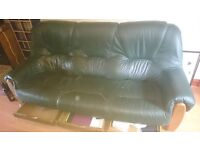 Leather 3 seater sofa + 1 single seater wooden base with fitted 3 drawers under seats