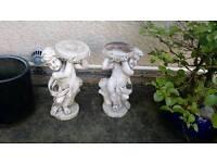 Stone cherub pot holders