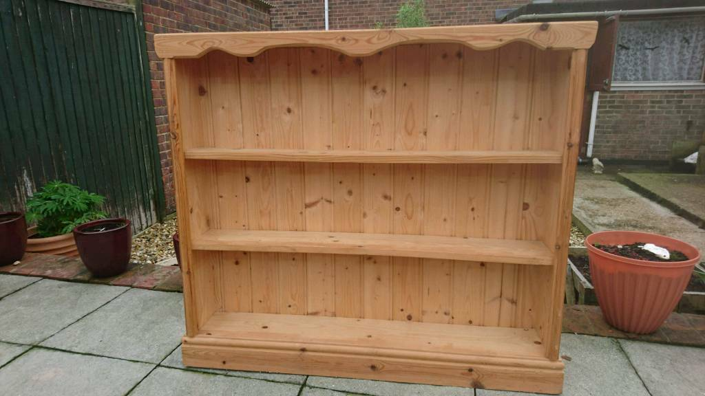 Good Sized Solid Pine 3 Shelf Bookcase T G Back Shallow Depth Hallway Dining Bedroom