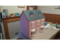 Wooden dolls house including furniture as pictured