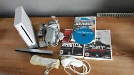 Nintendo wii, 1 controller and 4 games