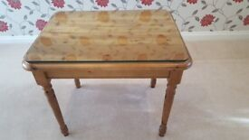 Rectangular Solid Pine table with a Polished Glass Top