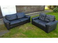 3 SEATER AND 2 SEATER BLACK LEATHER SUITE