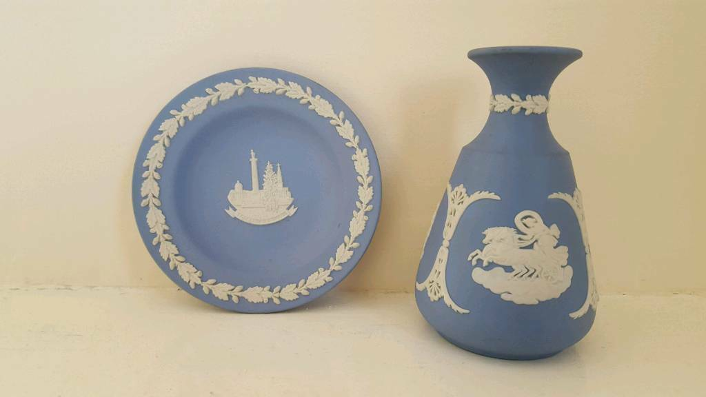 Vintage Porcelain Vase Wedgwood Blue Jasperware Vase And Wedgwood