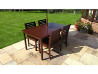 Garden furniture. Hardwood patio dining set, 4 chairs a table & a parasol. Very good condition.