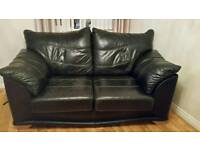 2 x black leather 2 seater sofas in excellent condition