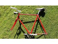 Rory O'Brien Vintage Bike Frame Red - Bullhorn Bar - Seat - MKS Pedals - Cycle Fixie Fixed Gear