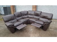Comfy brown leather corner sofa with recliners.originally from DFS. can deliver