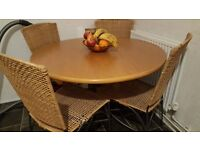 Solid pine table with four chairs