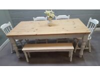 6ft Shabby Chic table Chair/bench set