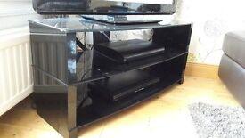 Glass three tier tv stand (black)
