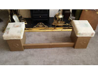 Vintage / antique fireplace surround / fender with two storage seats